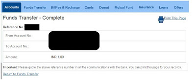 hdfc fund transfer between own accounts