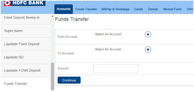 transfer between own accounts in HDFC 002