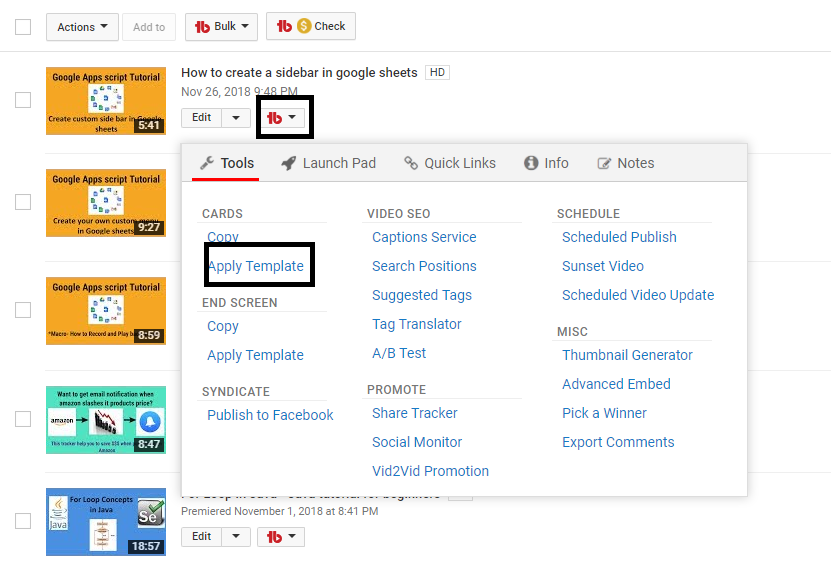 apply cards in youtube channel