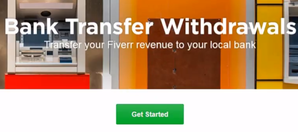 Bank transfer withdrawl page Fiverr Payoneer