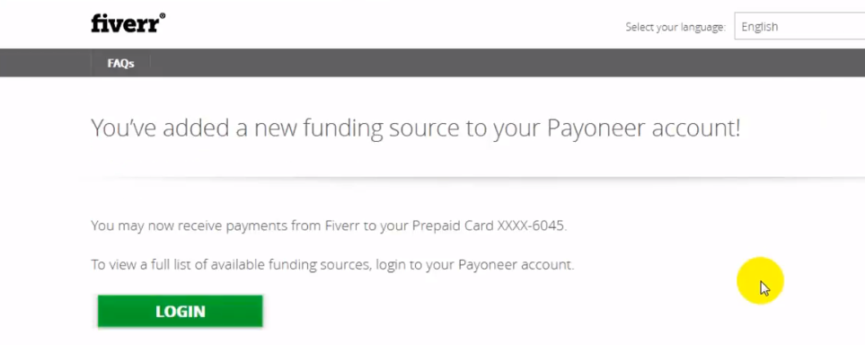 Fiverr Payoneer linking confirmation