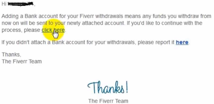 Fiverr confirmation mail for withdrawl