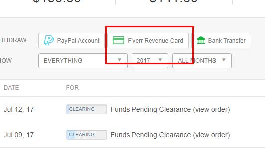 fiverr revenue card withdraw