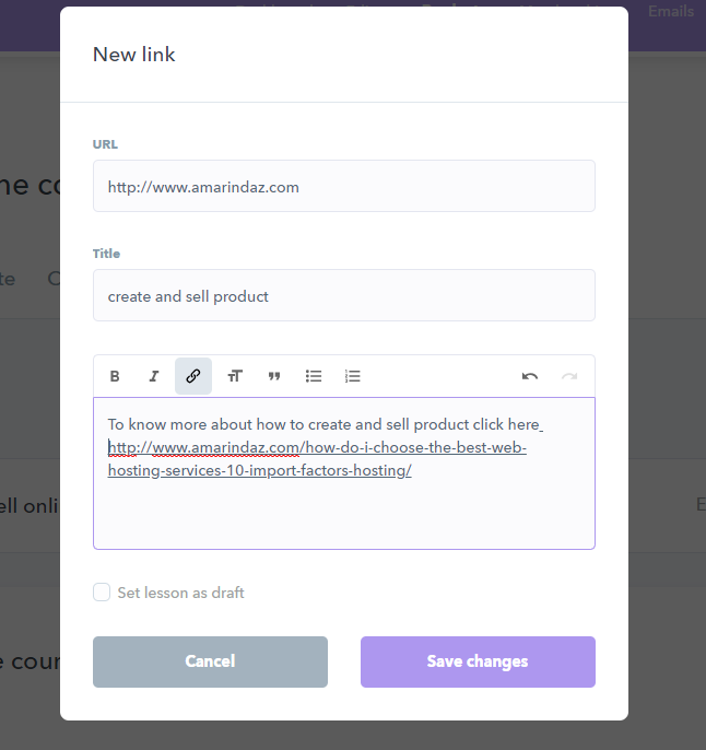 example of adding link